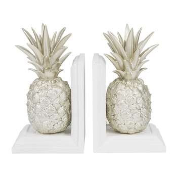 A by Amara - Pineapple Bookends - Set of 2 - Silver/White (H21 x W12cm)
