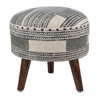 A by Amara - Printed Stripe Round Stool - Grey/Natural (H40 x W40 x D40cm)