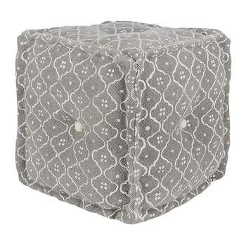 A by Amara - Printed Tile Cube Pouf - Grey/White (H40 x W40 x D40cm)