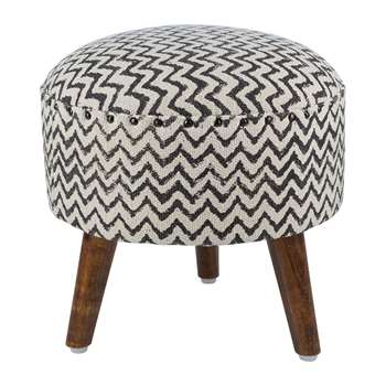 A by Amara - Printed Zigzag Round Stool - Natural/Black (H40 x W40 x D40cm)
