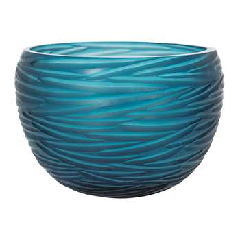 A by Amara - Rope Effect Glass Bowl - Midnight Blue (H25 x W24 x D24cm)