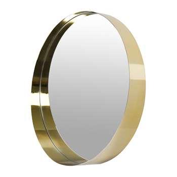 A by Amara - Round Brushed Border Mirror - Gold (Diameter 61.5cm)