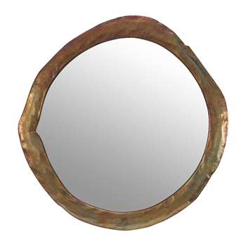 A by Amara - Round Melted Bronze Mirror (Diameter 65.5cm)