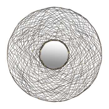 A by Amara - Round Nested Wire Mirror - Pewter & Gold (Diameter 76cm)