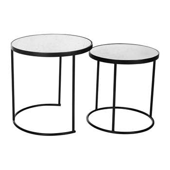 A by Amara - Round Table with Glass Top - Set of 2 (46 x 45cm)