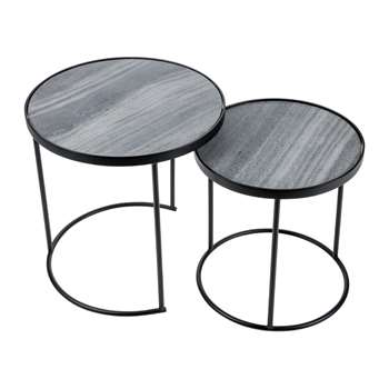 A by Amara - Round Table with Marble Top - Set of 2 (46 x 46cm)