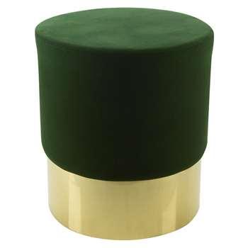 A by Amara - Round Velvet Stool - Green/Gold (H47 x W43 x D43cm)