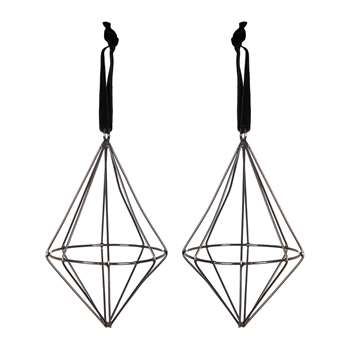 A by Amara - Set of 2 Diamond Wire Tree Decorations - Black (H11 x W8 x D8cm)