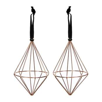 A by Amara - Set of 2 Diamond Wire Tree Decorations - Copper (H11 x W8 x D8cm)
