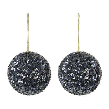 A by Amara - Set of 2 Sequin Tree Decorations - Navy (H9 x W9 x D9cm)