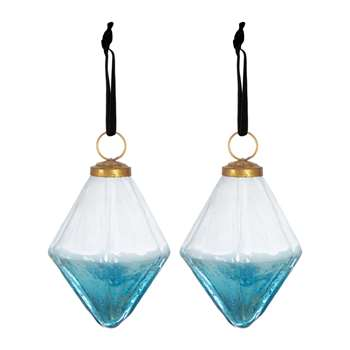 A by Amara - Set of 2 Two-Tone Geometric Tree Decorations - Blue (Height 9.5cm)