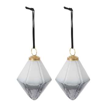 A by Amara - Set of 2 Two-Tone Geometric Tree Decorations - Grey (Height 9.5cm)