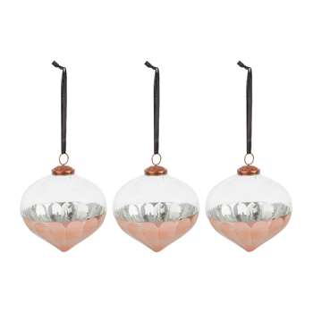 A by Amara - Set of 3 Hammered Copper Tree Decorations (H13 x W13 x D13cm)