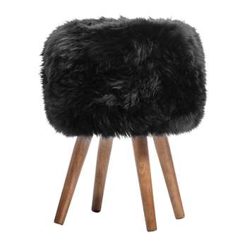 A by Amara - Sheepskin Stool - Black (40 x 30cm)
