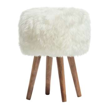 A by Amara - Sheepskin Stool - Ivory (40 x 30cm)