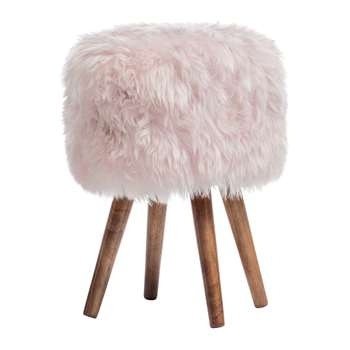 A by Amara - Sheepskin Stool - Pink (40 x 30cm)