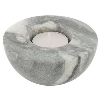 A by Amara - Short Marble Tealight/Taper Candle Holder - Black (H5.5 x W10 x D10cm)
