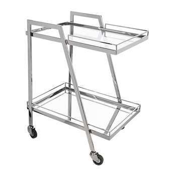 A by Amara - Silver Mirror Drinks Trolley - Rectangular (H80 x W64 x D46cm)