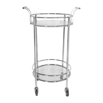 A by Amara - Silver Mirror Drinks Trolley - Round (H91.5 x W56 x D46cm)