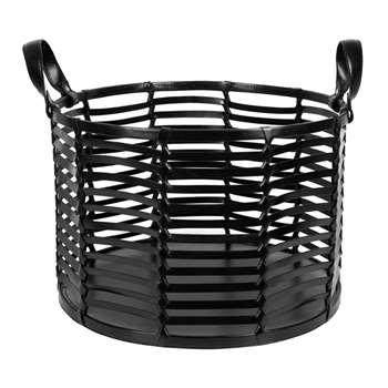 A by Amara - Slotted Leather Basket - Black (H27 x W40 x D40cm)