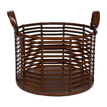 A by Amara - Slotted Leather Basket - Tan (H27 x W40 x D40cm)