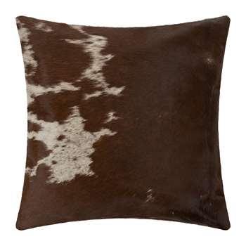 A by Amara - Small Speckling Cowhide Cushion - Tan/White (H45 x W45cm)
