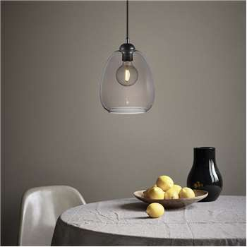 A by Amara - Smoked Glass Dillon Pendant Light (H27.5 x W20 x D20cm)