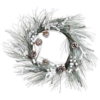 A by Amara - Snow Pine Needle Wreath - Green/White (H61 x W61cm)