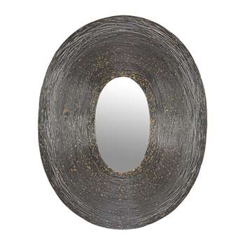 A by Amara - Speckled Wire Framed Oval Mirror - Pewter & Gold (H75.5 x W59.5 x D5cm)
