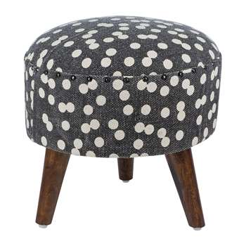 A by Amara - Spotted Round Stool - Navy/Natural (H40 x W40 x D40cm)