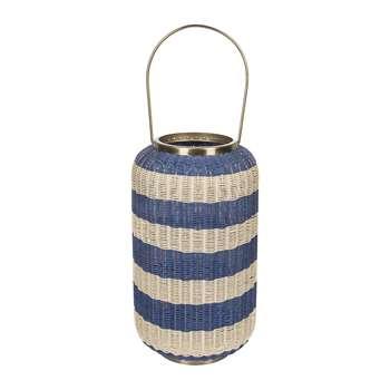 A by Amara - Tall Wicker Weave Hurricane - Blue/White (H31 x W18.5 x D18.5cm)