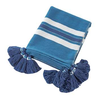 A by Amara - Thick Stripe Tassel Throw - Blue (H130 x W170cm)