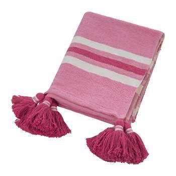 A by Amara - Thick Stripe Tassel Throw - Pink (H130 x W170cm)