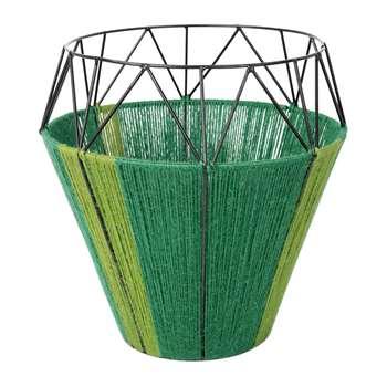 A by Amara - Thin Base Rope Lantern - Green (30 x 29cm)