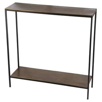 A by Amara - Thin Top Console Table with Base - Antique Brass (H79 x W78 x D24cm)