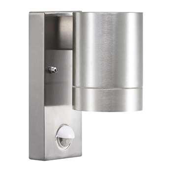 A by Amara - Tin Maxi Sensor Outdoor Wall Light - Aluminium (H16 x W7.6 x D7.6cm)
