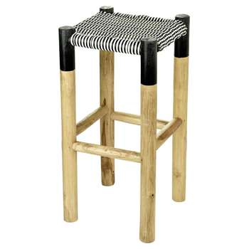 A by Amara - Weave Stool - Black/White - High (H75 x W35 x D35cm)