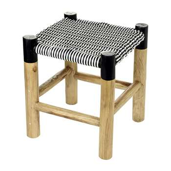 A by Amara - Weave Stool - Black/White - Low (H46.5 x W40 x D40cm)