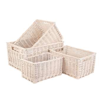 A by Amara - White Wash Storage Basket - Set of 4 (H23 x W47 x D34cm)