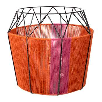 A by Amara - Wide Base Rope Lantern - Coral (32 x 33cm)