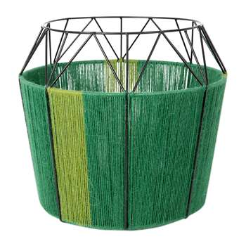A by Amara - Wide Base Rope Lantern - Green (32 x 33cm)