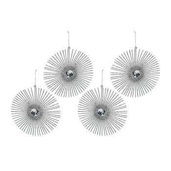 A by Amara - Wire Circle Tree Decoration - Set of 4 - Silver (H15 x W15 x D15cm)