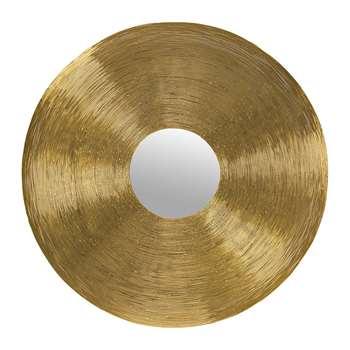 A by Amara - Wire Framed Round Mirror - Gold (H76 x W76cm)