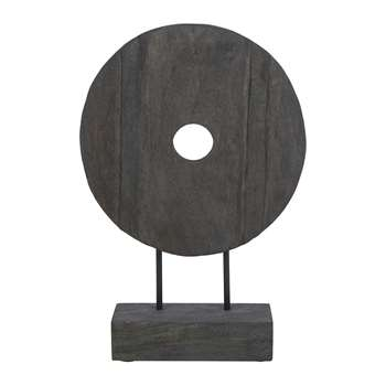 A by Amara - Wooden Circle Sculpture - Grey - Small (H42 x W29cm)