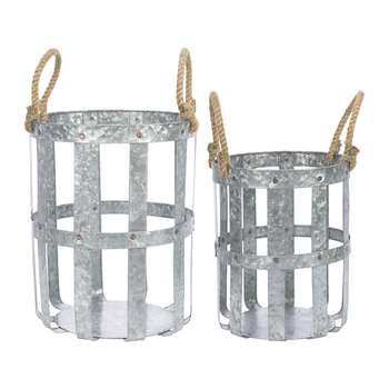 A by Amara - Woven Galvanised Baskets with Rope Handles - Set of 2 (H37 x W30 x D30cm)