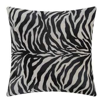 A by Amara - Zebra Print Cowhide Cushion - Black/White (H45 x W45cm)