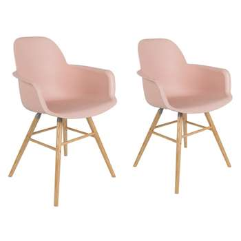 Zuiver Pair Of Albert Kuip Retro Moulded Armchairs in Powder Pink (H81.5 x W59 x D55cm)