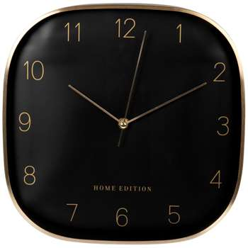 AARON - Gold and black metal clock (Diameter 29cm)