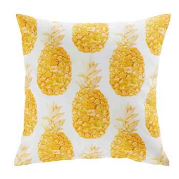 ABACA white fabric outdoor cushion with pineapple print (45 x 45cm)