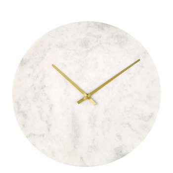 ABBY White Marble Clock (H65 x W65 x D2.5cm)